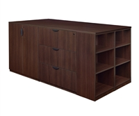 Regency Legacy - Stand Up Station - 2 Storage Cabinets, 1 Desk, 1 Lateral File with Bookcase End