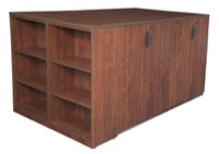 Legacy Stand Up 2 Storage Cabinet/ Lateral File/ Desk Quad with Bookcase End - Cherry