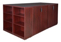 Legacy Stand Up 2 Storage Cabinet/ Lateral File/ Desk Quad with Bookcase End - Mahogany