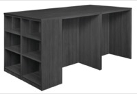 Legacy Stand Up 2 Desk/ Storage Cabinet/ Lateral File Quad with Bookcase End - Ash Grey