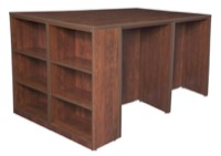 Legacy Stand Up 2 Desk/ Storage Cabinet/ Lateral File Quad with Bookcase End - Cherry