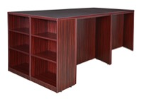 Legacy Stand Up 2 Desk/ Storage Cabinet/ Lateral File Quad with Bookcase End - Mahogany