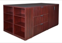 Legacy Stand Up Lateral File/ 3 Storage Cabinet Quad with Bookcase End - Mahogany