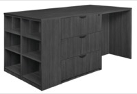 Legacy Stand Up Lateral File/ 3 Desk Quad with Bookcase End - Ash Grey