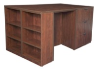 Legacy Stand Up Lateral File/ 3 Desk Quad with Bookcase End - Cherry