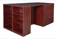 Legacy Stand Up Lateral File/ 3 Desk Quad with Bookcase End - Mahogany