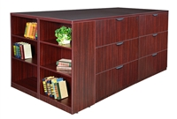 Regency Legacy - Stand Up Station - 4 Lateral Files with Bookcase End