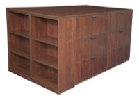 Legacy Stand Up Lateral File Quad with Bookcase End - Cherry