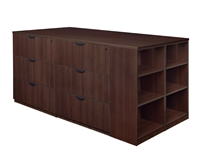 Regency Legacy - Stand Up Station - 3 Lateral Files, 1 Storage Cabinet with Bookcase End