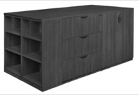 Legacy Stand Up Storage Cabinet/ 3 Lateral File Quad with Bookcase End - Ash Grey