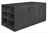 Legacy Stand Up Storage Cabinet Quad with Bookcase End - Ash Grey