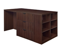 Regency Legacy - Stand Up Station - 3 Lateral Files, 1 Desk with Bookcase End