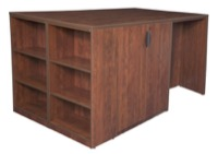 Legacy Stand Up Desk/ 3 Storage Cabinet Quad with Bookcase End - Cherry