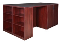 Legacy Stand Up Desk/ 3 Storage Cabinet Quad with Bookcase End - Mahogany