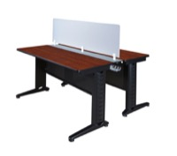 "Fusion 48"" x 24"" Benching Sysem with Privacy Panel - Cherry"