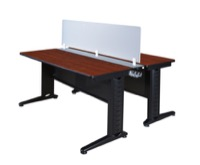 "Fusion 66"" x 24"" Benching System with Privacy Panel - Cherry"