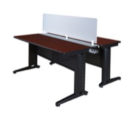 "Fusion 66"" x 24"" Benching System with Privacy Panel - Mahogany"
