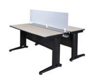 "Fusion 66"" x 24"" Benching System with Privacy Panel - Maple"