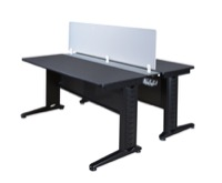 "Fusion 72"" x 24"" Benching System with Privacy Panel - Grey"