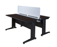 "Fusion 72"" x 24"" Benching System with Privacy Panel - Mocha Walnut"