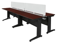 "Fusion 48"" x 24"" Double Benching Sysem with Privacy Panel - Mahogany"