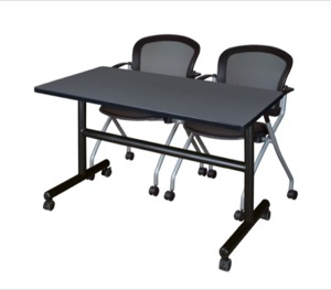 "48"" x 24"" Flip Top Mobile Training Table - Grey and 2 Cadence Nesting Chairs"