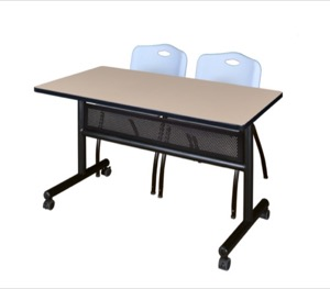 "48"" x 24"" Flip Top Mobile Training Table with Modesty Panel - Beige and 2 ""M"" Stack Chairs - Grey"