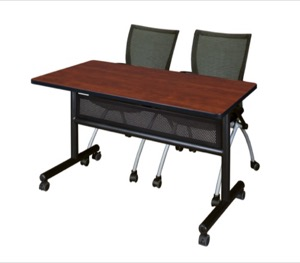 "48"" x 24"" Flip Top Mobile Training Table with Modesty Panel - Cherry and 2 Apprentice Nesting Chairs"