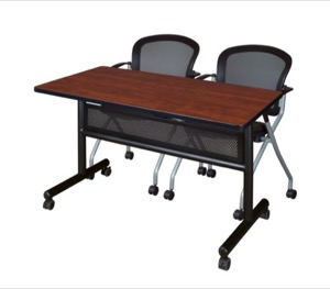 "48"" x 24"" Flip Top Mobile Training Table with Modesty Panel - Cherry and 2 Cadence Nesting Chairs"