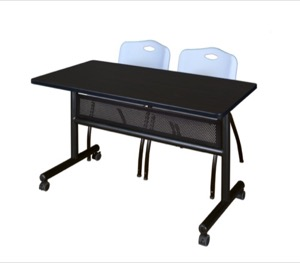 "48"" x 24"" Flip Top Mobile Training Table with Modesty Panel - Mocha Walnut and 2 ""M"" Stack Chairs - Grey"