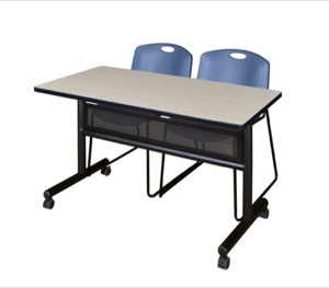"48"" x 24"" Flip Top Mobile Training Table with Modesty Panel - Maple and 2 Zeng Stack Chairs - Blue"