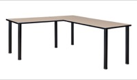 "Kee 60"" L-Desk with 42"" Return, Beige/Black"
