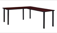 "Kee 60"" L-Desk with 42"" Return, Mahogany/Black"