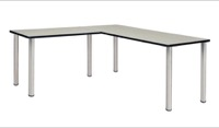 "Kee 60"" L-Desk with 42"" Return, Maple/Chrome"