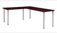 "Kee 66"" L-Desk with 42"" Return, Mahogany/Chrome"