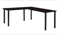 "Kee 66"" L-Desk with 42"" Return, Mocha Walnut/Black"
