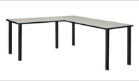 "Kee 66"" L-Desk with 42"" Return, Maple/Black"