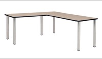 "Kee 72"" L-Desk with 42"" Return, Beige/Chrome"