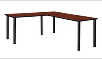 "Kee 72"" L-Desk with 42"" Return, Cherry/Black"