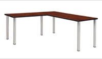 "Kee 72"" L-Desk with 42"" Return, Cherry/Chrome"