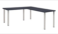 "Kee 72"" L-Desk with 42"" Return, Grey/Chrome"