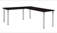 "Kee 72"" L-Desk with 42"" Return, Mocha Walnut/Chrome"
