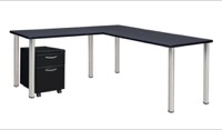 "Kee 60"" Single Pedestal L-Desk with 42"" Return, Grey/Chrome"