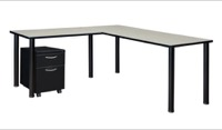 "Kee 60"" Single Pedestal L-Desk with 42"" Return, Maple/Black"