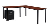 "Kee 66"" Single Pedestal L-Desk with 42"" Return, Cherry/Black"