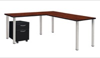 "Kee 66"" Single Pedestal L-Desk with 42"" Return, Cherry/Chrome"