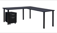 "Kee 66"" Single Pedestal L-Desk with 42"" Return, Grey/Black"