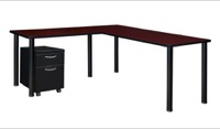 "Kee 66"" Single Pedestal L-Desk with 42"" Return, Mahogany/Black"