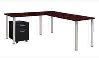 "Kee 66"" Single Pedestal L-Desk with 42"" Return, Mahogany/Chrome"