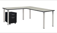 "Kee 66"" Single Pedestal L-Desk with 42"" Return, Maple/Chrome"